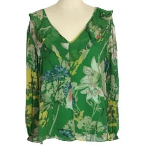 Gibson Latimer Green Floral Ruffle Top Size L